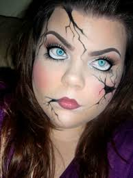 broken doll costume makeup