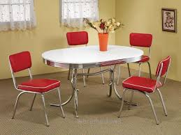 oval 50s diner kitchen chrome table retro vine nostalgia 4 red from red kitchen table and