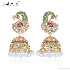 2018 antique indian ethnic jhumka jhumki earrings with white created pearl umbrella drop setting chandelier earring for bridal jewelry luoteemi from