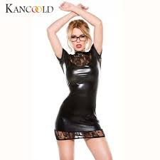 Online Shop <b>Women Sexy</b> Patent <b>leather</b> Lace Lingerie Enticing ...