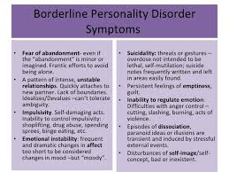 borderline personality disorder symptoms bpd and other  borderline personality disorder presentation given in psychopathology ii class summer 2010 argosy university san francisco by lucia merino