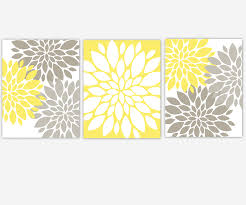 baby s canvas nursery wall art yellow gray grey modern flower