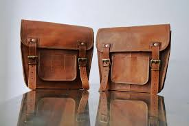 motorcycle pouch brown leather bag side pouch 1 bag saddlebags saddle panniers for