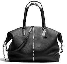 Coach Bleecker Cooper Pebbled Stitch Leather Large Soft Satchel Silver Black