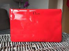 dior beauty make up cosmetic bag purse red patent pouch