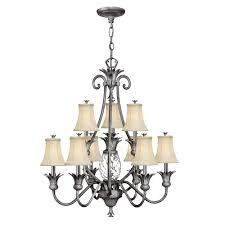 plantation 10 light polished antique nickel chandelier