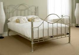 White Gold Double Metal Bed Frame