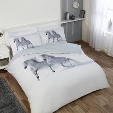 horses 230cm x 220cm king duvet set white