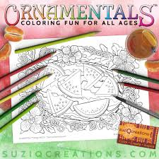 Summer Refreshment Watermelon Coloring Page For Summer