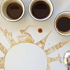 create urban landscapes using coffee