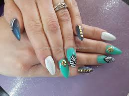 Eye Candy Nails & Training - Mint white and black freehand nail ...