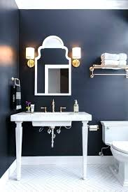 navy bathroom with patterned flooring bath accessories set