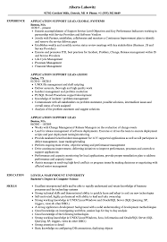Application Support Lead Resume Samples Velvet Jobs
