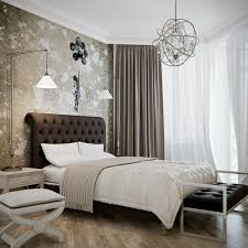 Neutral Wallpaper Bedroom Bedrooms Master Bed Black Accent Wall Neutral Marble Floor Shaggy