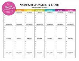 Printable Kids Chore Chart Editable Child Responsibility