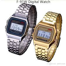 f 91w led digital watches men women unisex wristwatch silver gold f 91w led digital watches men women unisex wristwatch silver gold color stainless steel f91w