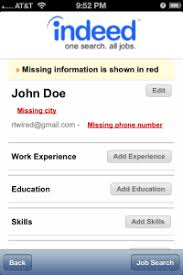 Missing Information - Indeed Job Search