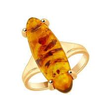 Кольцо из золочёного <b>серебра</b> с <b>янтарём</b> (<b>пресс</b>.) SOKOLOV ...