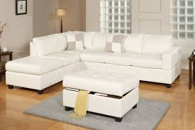 White Sectional Living Room Poundex F7354 3 Pcs Off White Bonded Leather Reversible Sectional Sofa