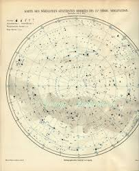 Astronomical Chart Of Stars And Planets 1880 Vintage Star Chart Beautiful North And South Celestial