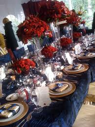 Blue And Gold Table Setting Black And Red Reception Gold Wedding Pinterest Red Gold