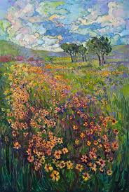 new addition to the texas collection a modern impressionist painting of black eyed susans in