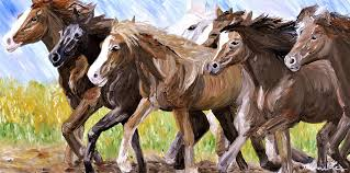 wild horses running by