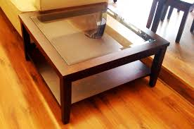 Square Coffee Table With Glass Top 4971 Large Square Wooden Coffee Table  With Glass Top 145