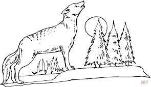 Small Picture Coyote howling at the moon coloring page Free Printable Coloring