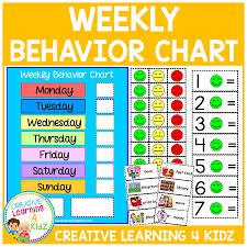 Classroom Management Chart Weekly Behavior Chart Digital Download