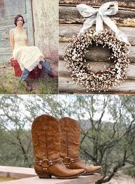 Western Rustic Decor Western Themed Wedding Bride Wears Cowboy Boots Rustic Reception Decor