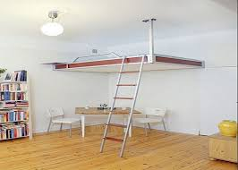 Simple DIY Loft Bed With Wall Mounted And Hanging On Ceiling Ideas.