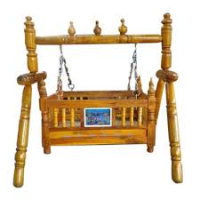 brown wooden stand jhula