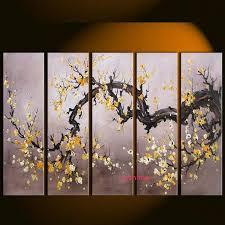 handmade plum blossom tree canvas wall art modern abstract decor group paintings flower picture for living on plum flower canvas wall art with handmade plum blossom tree canvas wall art modern abstract decor