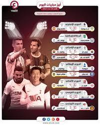 مواعيد مباريات اليوم الأحد 25 أبريل 2021 والقنوات الناقلة
