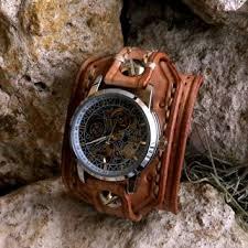 steampunk leather wrist watch men s watch leather cuff bracel