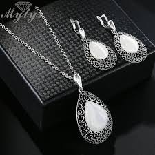 2019 mytys water drop oval opal pendant necklace and drop earrings jewelry sets for women antique retro grey black jewelry cn349 from navyjewelry