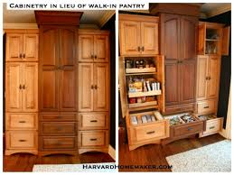 cabinets and drawers for compartmentalized storage in lieu of walk in pantry
