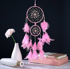 Double Dream Catchers Handmade Beautiful Pink Natural Feathers Double Dream Catcher 84