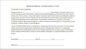 release of medical information template release of medical information form sample 9 examples in word pdf