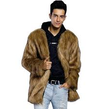 mens faux fur coats faux fur coat brown v neck long sleeve regular fit winter coat mens faux fur coats