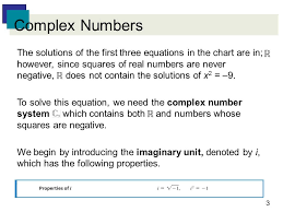 3 complex numbers the solutions of the first three equations in the chart are in