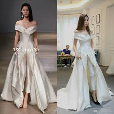 Women Dresses Jumpsuit With Long Train White Evening Gowns Off