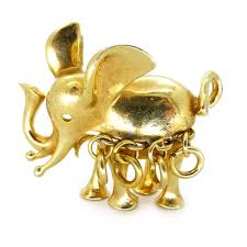 Designer Elephant Jewelry Vintage 1967 Christian Dior Gold Elephant Brooch Clarice
