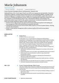 Resume Template For Nurses Enchanting Nursing CV Examples And Template