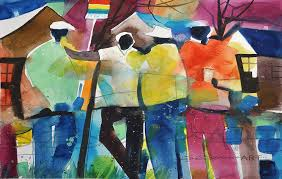 Small Picture Chattin at the Bus Stop Watercolor Print African American Art