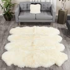 ivory white extra large sheepskin rug 8 pelt octo 7x6 ft