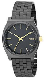 amazon com nixon time teller watch men s matte black gold nixon time teller watch men s matte black gold accent one size