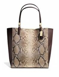 Coach Madison North South Bonded Tote in Python Embossed Leather