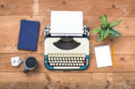 top view vintage typewriter office desk stock photo 83976723